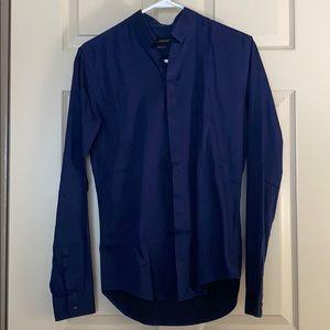 Men's dress shirt with band collar